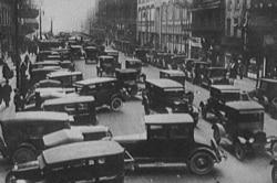 Traffic jam in Detroit, Michigan