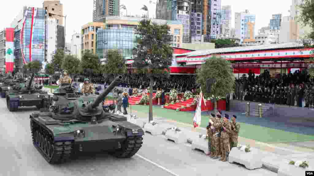 Lebanon displays its military strength at the parade marking Independence Day, Beirut, Lebanon, Nov. 22, 2017.