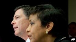 El director del FBI, James Comey y la secretaria de Justicia, Loretta Lynch informaron sobre esfuerzos antiterrorismo en el país. Nov. 19, 2015.