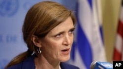 FILE - Samantha Power, U.S. ambassador to the U.N., talks to reporters during a break in Security Council consultations, Feb. 25, 2016. Power urged global action in the current refugee crisis Wed.