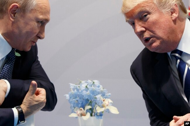 FILE -U.S. President Donald Trump (R) meets with Russian President Vladimir Putin at the G20 Summit in Hamburg, Germany, July 7, 2017.