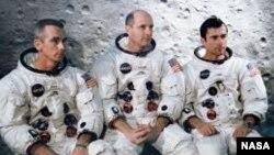 Apollo 10 astronauts Eugene Cernan, Lunar Module Pilot, Thomas Stafford, Commander and John Young, Command Module Pilot are seen in this NASA photograph.
