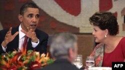 Президент США Барак Обама на встрече с президентом Бразилии Дилмой Руссеф