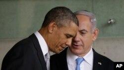 Prezida wa Amerika, Barack Obama n'umushikiranganji wa mbere w'igihugu ca Israel, Benjamin Netanyahu