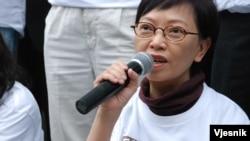 工黨立法會議員何秀蘭表示,絕食行動是一個「苦其心智、勞其筋骨」的修行過程。 (美國之音 湯惠芸拍攝)