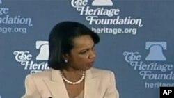 前美國國務卿賴斯在傳統基金會發表演說
