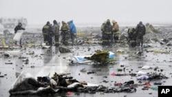 """Mesto nesreća aviona kompanije """"Flajdubai"""" na jugu Rusije kod aerodroma Rostov na Donu, 19. nart 2016."""