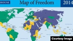 Screenshot of Freedom House's world 'Map of Freedom' in 2014.