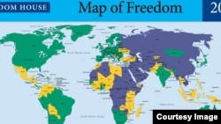 Freedom House world map in 2014