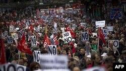 Мадрид. Протесты против сокращения расходов на социальные программы.