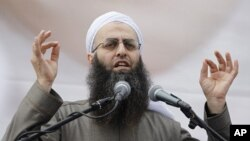 Sheikh Ahmad Assir speaks during a demonstration in solidarity with Syria's anti-government protesters, in Beirut March 4, 2012.