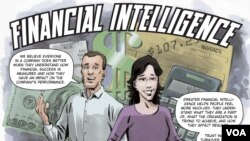 "A picture from the ""Financial Intelligence"" comic book"