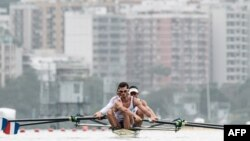 Rowers of France train before Rio 2016 Olympic games at Lagoa Stadium venue in Rio de Janeiro, Brazil, July 29, 2016