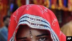 印度西部的拉贾斯坦邦的少女新娘