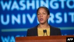 9月21日,美國國家安全顧問蘇珊·賴斯在喬治華盛頓大學談論美中關係和習近平訪問美國。