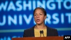Cố vấn An ninh Quốc gia Mỹ Susan Rice nói về mối quan hệ Mỹ -Trung Quốc tại Đại học George Washington ở Washington DC ngày 21/9/2015.