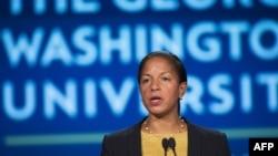 美国国家安全顾问苏珊·赖斯在乔治华盛顿大学就美中关系发表讲话。 (2015年9月21日)