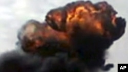 15일 화염이 치솟는 홈스 시 (시민제보 동영상)