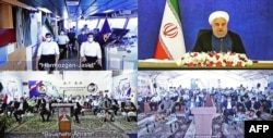 Presiden Iran Hassan Rouhani (atas-kanan) meresmikan terminal minyak Jask secara virtual di ibu kota Teheran, 22 Juli 2021. (AFP/Iranian Presidency)