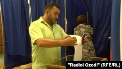 Russian election voting in Dushanbe