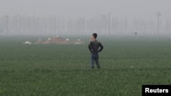 A man stands next to tombs in the field on the outskirts of Rongcheng county, one part of the new special economic zone Xiongan New Area, China, April 6, 2017.