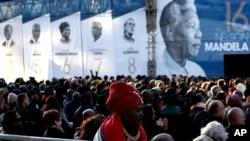Lors de la commémoration de Nelson Mandela à Johannesburg, en Afrique du Sud, le 17 juillet 2018.