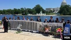 2014年6月2日,一些25年前的天安門運動領袖聚集在國會山紀念六四事件。 (美國之音安華拍攝)