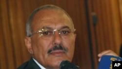 ປະທານາທິບໍດີ Ali Abdullah Saleh ກ່າວຕໍ່ກອງປະຊຸມນັກຂ່າວທີ່ ນະຄອນຫລວງ Sana'a ວັນທີ 22 ພຶດສະພາ 2011.