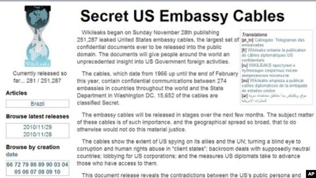 Screen capture of WikiLeaks web site