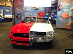 Specially split Ford Mustangs show its patented changes over half a century