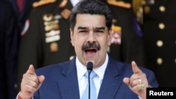 Venezuela's President Nicolas Maduro speaks during a news conference at Miraflores Palace in Caracas, Venezuela, March 12, 2020. (REUTERS/Manaure Quintero)
