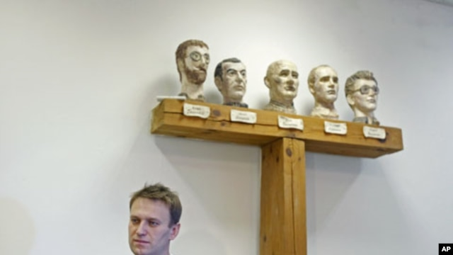 Russian opposition leader Alexei Navalny - released from jail December 21, 2011, after being detained at the first of several large opposition rallies, will be participating in the next mass protest planned for December 24 - speaks during an interview in