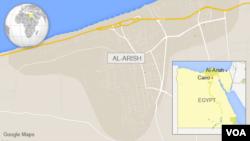 Lokasi Al-Arish di Mesir.
