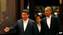 美国总统奥巴马和中国主席习近平在北京中南海会面(2014年11月11日)