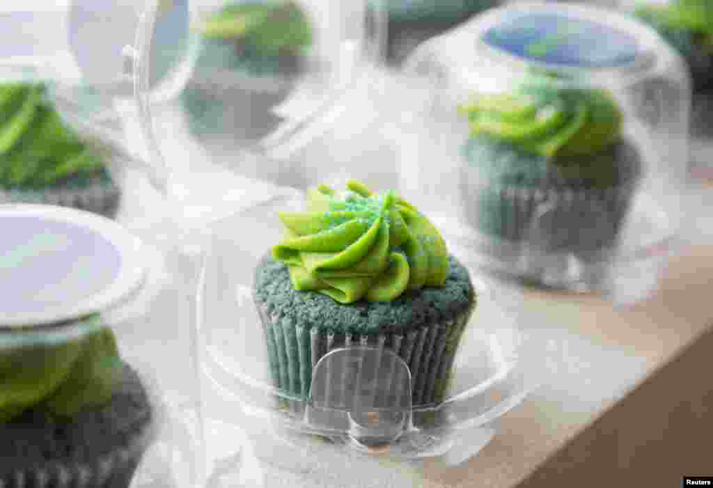 Seattle Seahawks-themed marijuana cupcakes are displayed at the Queen Anne Cannabis Club in Seattle, Washington, USA, Jan. 28, 2014.