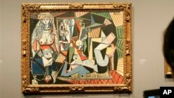 "Salah satu lukisan Picasso, ""Women of Algiers (Version O),"" 1955, ketika dipamerkan di The National Gallery, London (foto: dok)."