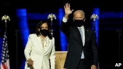 အေမရိကန္သမၼတအျဖစ္ ေရြးခ်ယ္ခံရတဲ့ Joe Biden နဲ႔ ဒုတိယသမၼတေလာင္း Kamala Harris. (ႏုိဝင္ဘာ ၇၊ ၂၀၂၀)