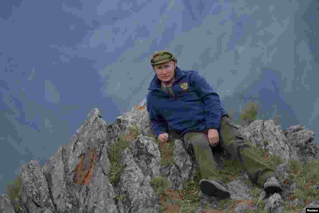 Russian President Vladimir Putin is seen during his holiday in the Siberian taiga, Oct. 7, 2019.