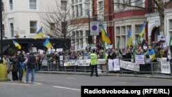 U.K. – London Ukrainian protesting military intervention in Russia, London