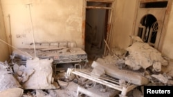 A damaged field hospital room is seen after airstrikes in a rebel-held area in Aleppo, Syria Oct. 1, 2016.