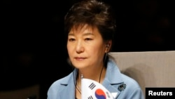 Presiden Korea Selatan Park Geun-hye menghadiri sesi pembukaan KTT Keamanan Nuklir di Den Haag (24/3).