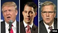 Từ trái sang): Ứng cử viên TT Đảng Cộng hòa Donald Trump, Thống đốc bang Wisconsin Scott Walker và cựu Thống đốc bang Florida Jeb Bush tham gia vào các cuộc tranh luận bầu cử đầu tiên hôm thứ Năm tại Cleveland, Ohio.