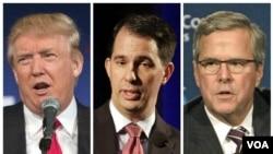 현재 지지율 선두를 지키고 있는 미국 공화당 대선 후보들. 왼쪽부터 부동산 재벌 도널트 트럼프, 스콧 워커 위스콘신 주지자, 젭 부시 전 플로리다 주지사. (자료사진)