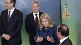 Grčki premijer Antonis SAamaras, danska premijerka Hele Torning-Šmit i francuski predsednik Fransoa Oland