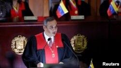 마이켈 모레노 베네수엘라 대법원장이 지난 2월 베네수엘라 카라카스 대법원에서 열린 사법 연도 개막식에서 연설하고 있다.