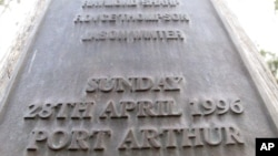 "FILE - The date and place ""Sunday, 28th April 1996 Port Arthur"" are engraved on a memorial in Port Arthur, Tasmania state, Australia, to honor the 35 people killed by a lone gunman."