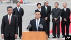 張德江星期二抵達香港後在機場對傳媒發表講話