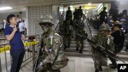 南韓軍人2017年在自由衛士軍演中的進行反恐行動