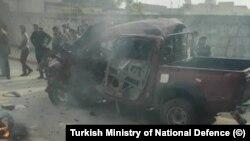 Suriye'nin Azez şehrindeki saldırıda şehrin otogarı hedef alındı.