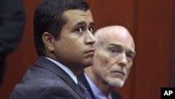 George Zimmerman (izquierda) comparece en corte en compañía de su abogado Don West.